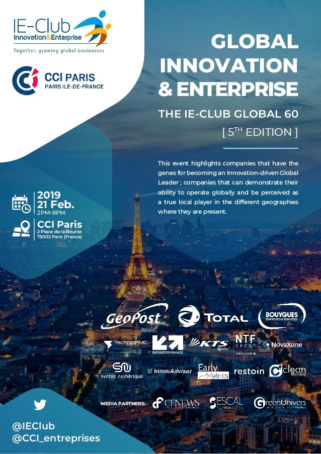 GLOBAL INNOVATION & ENTERPRISE THE IE-CLUB GLOBAL 60 [ 5TH EDITION ] This event highlights companies that have the genes f...