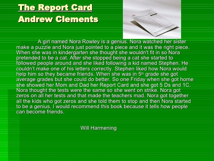 the report card book summary andrew clements