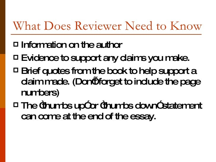 Do you need a thesis in a book review