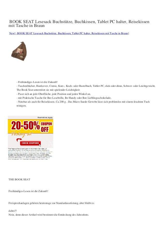 BOOK SEAT Lesesack Buchstütze, Buchkissen, Tablet PC halter, Reisekissenmit Tasche in BraunNew!- BOOK SEAT Lesesack Buchst...