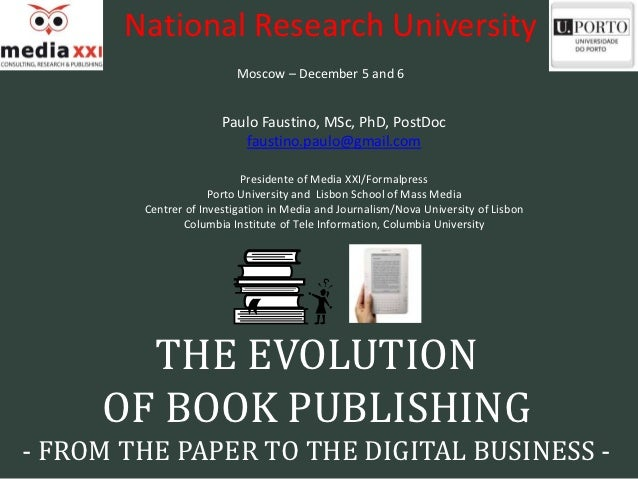 National Research University                         Moscow – December 5 and 6                       Paulo Faustino, MSc, ...