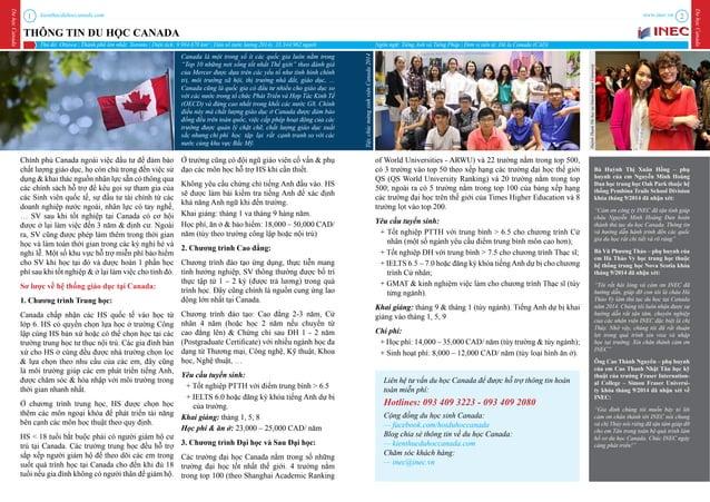 kienthucduhoccanada.com DuhọcCanada DuhọcCanada www.inec.vn1 2 THÔNG TIN DU HỌC CANADA Tên trường Website Tỉnh Ontario Tor...