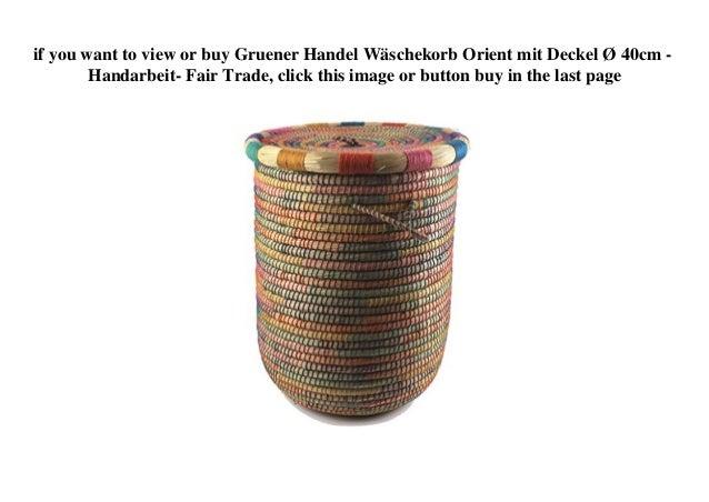 Fair Trade Gruener Handel Wäschekorb Orient mit Deckel Ø 40cm Handarbeit