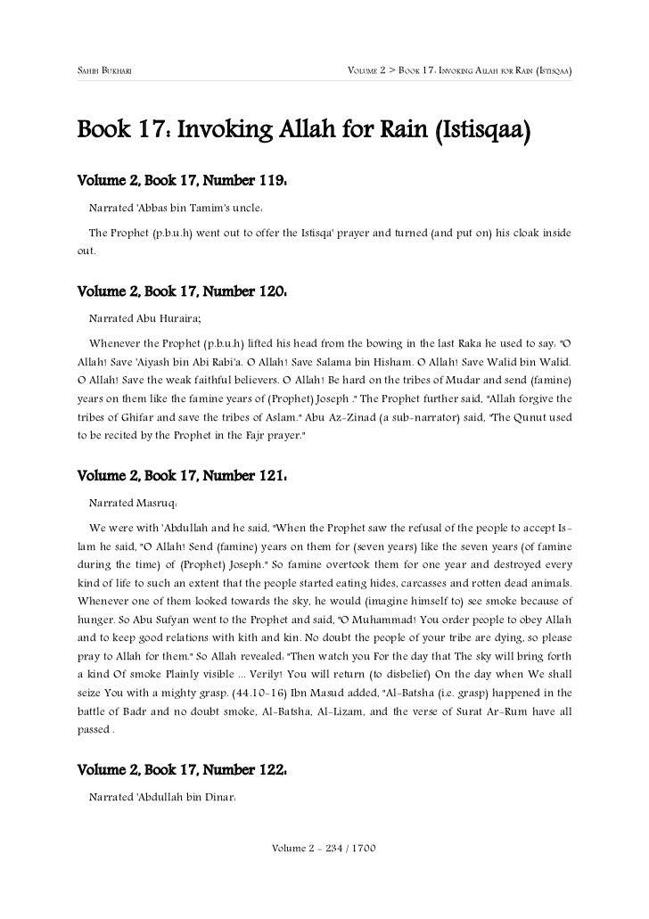 SAHIH BUKHARI                                           VOLUME 2 > BOOK 17: INVOKING ALLAH FOR RAIN (ISTISQAA)Book 17: Inv...