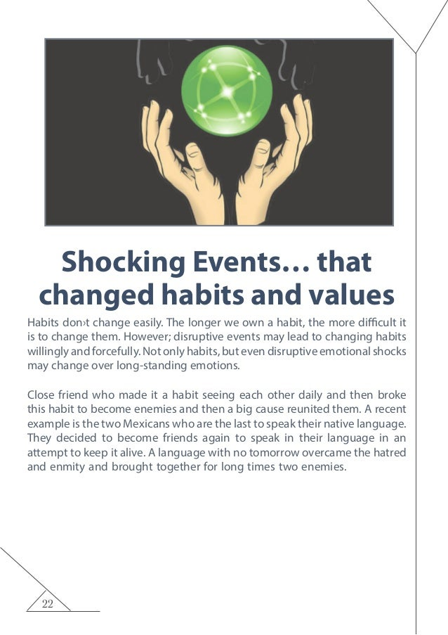 22 Shocking Events… that changed habits and values Habits don›t change easily. The longer we own a habit, the more difficu...