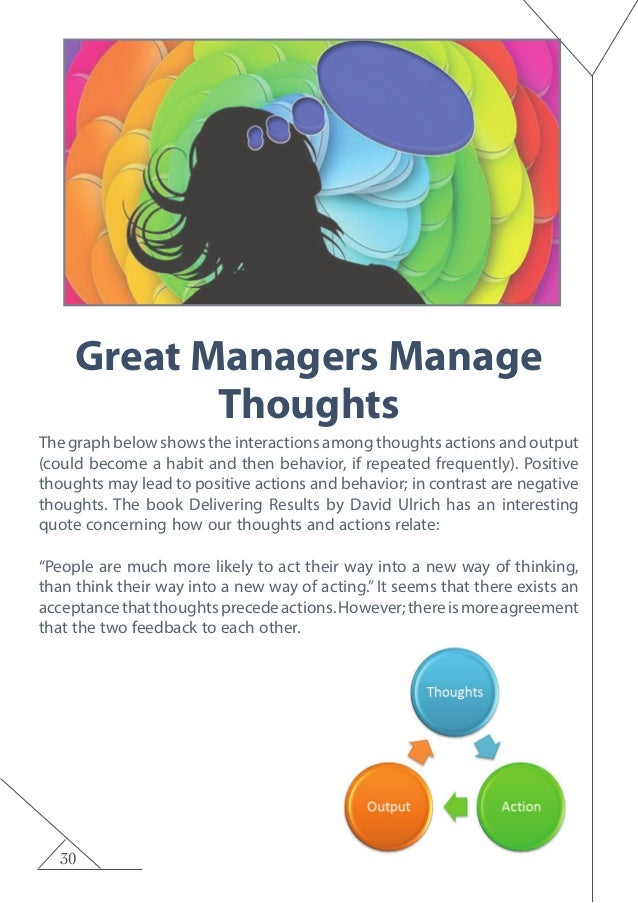 30 Great Managers Manage Thoughts The graph below shows the interactions among thoughts actions and output (could become a...