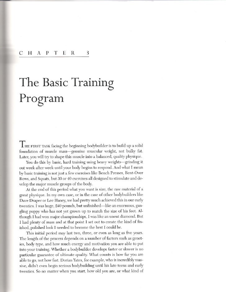 c H        A p T E R                      3     The Basic Training Program   THE FIRST TASKfacing the beginning bodybuilde...