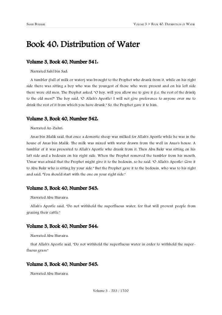 SAHIH BUKHARI                                                    VOLUME 3 > BOOK 40: DISTRIBUTION OF WATERBook 40: Distrib...