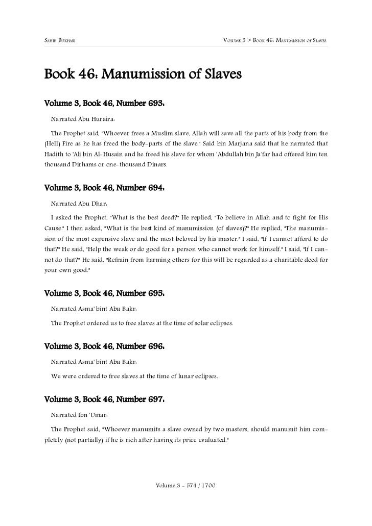 SAHIH BUKHARI                                                        VOLUME 3 > BOOK 46: MANUMISSION OF SLAVESBook 46: Man...