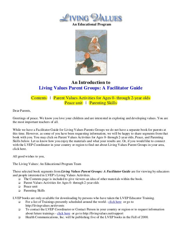 An Educational Program                                   An Introduction to                    Living Values Parent Groups...