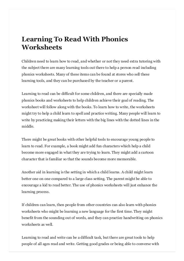 Learning To Read With Phonics Worksheets