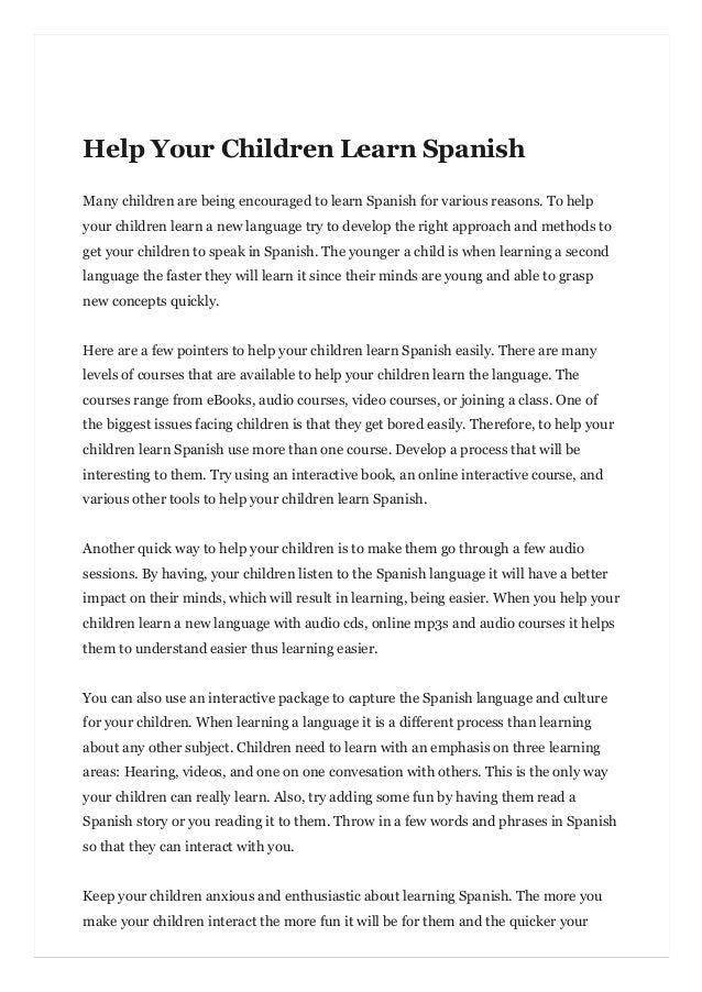 Help Your Children Learn Spanish