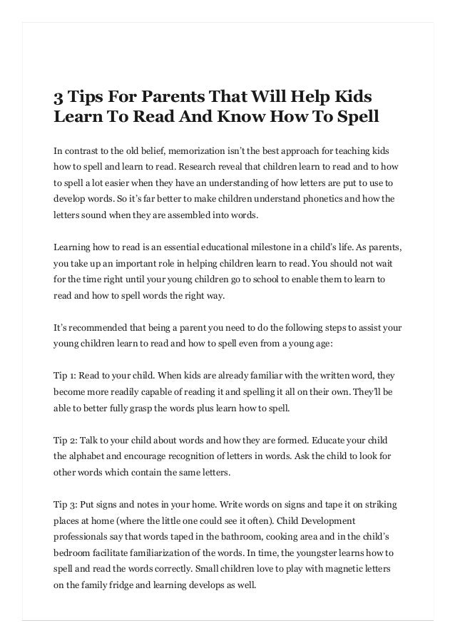 How Kids Learn Better By Taking >> 3 Tips For Parents That Will Help Kids Learn To Read And Know How To