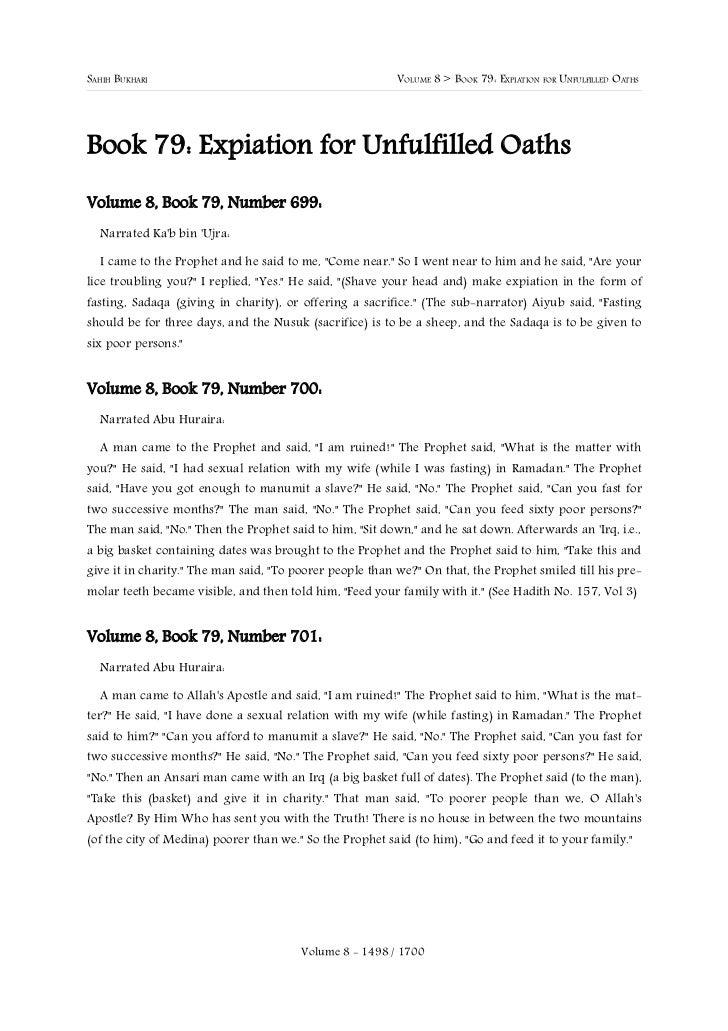 SAHIH BUKHARI                                             VOLUME 8 > BOOK 79: EXPIATION FOR UNFULFILLED OATHSBook 79: Expi...
