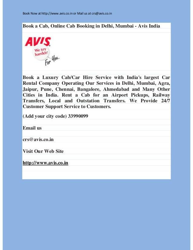 Book A Cab Online Cab Booking In Delhi Mumbai Avis India