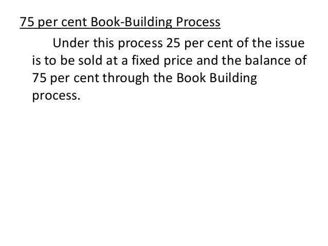 100% Book Building Process • A. 100 per cent of the net offer to the public through book building process, or • B. 75 per ...