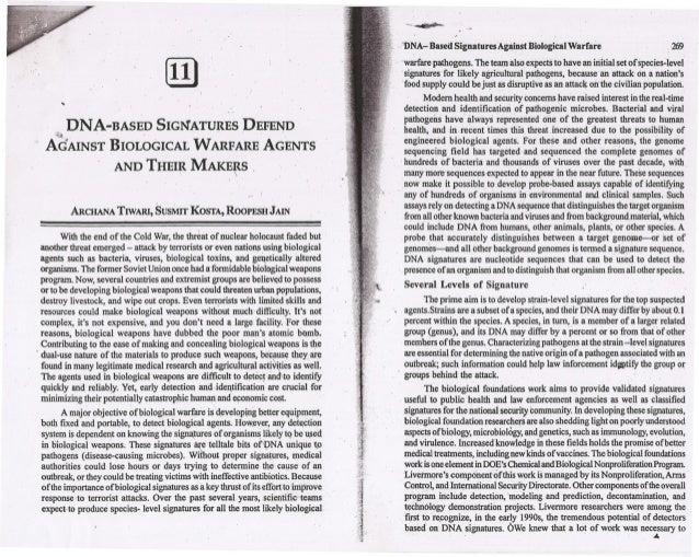 "rill... DNA-BASED SIGl':ATURES'DEFEND~~ . "",. . AdAINST BIOLOGICAL WARFARE AGENTS AND THEIR MAKE~S , AROIANA TIWARI, SUSMr..."