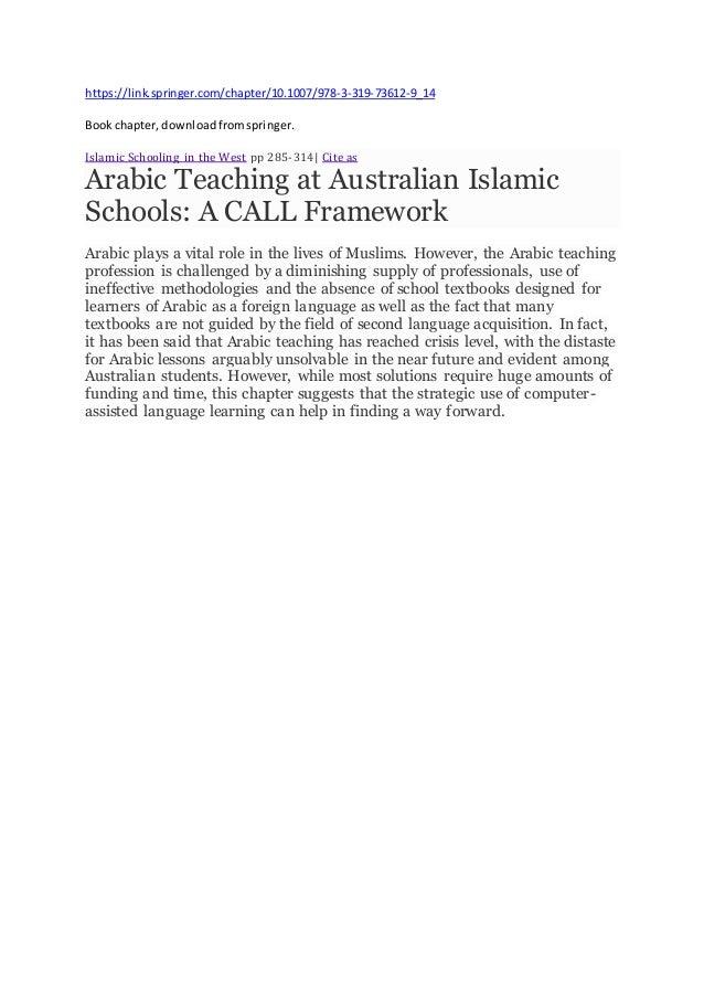 https://link.springer.com/chapter/10.1007/978-3-319-73612-9_14 Bookchapter,downloadfromspringer. Islamic Schooling in the ...