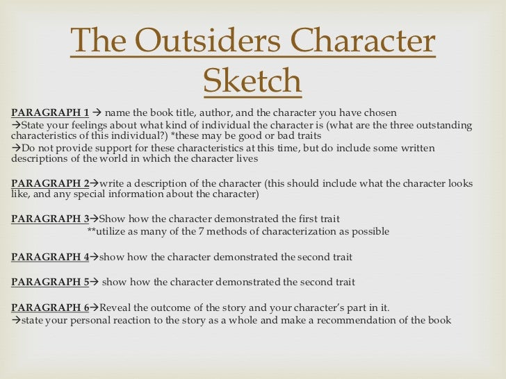 a character analysis of the novel the outsiders