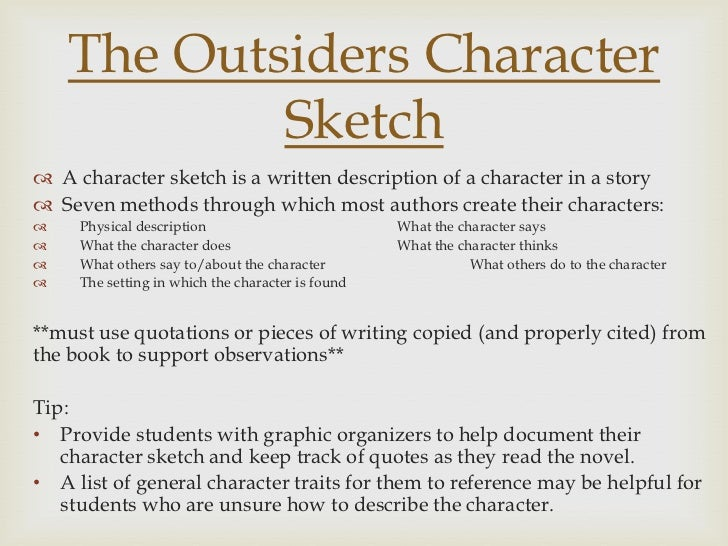 character sketch writing assignment rubric