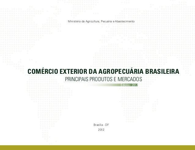 Ministério da Agricultura, Pecuária e AbastecimentoCOMÉRCIO EXTERIOR DA AGROPECUÁRIA BRASILEIRA          PRINCIPAIS PRODUT...