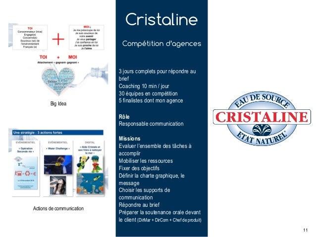 Cristaline Compétition d'agences Rôle Responsable communication Missions Evaluer l'ensemble des tâches à accomplir Mobilis...