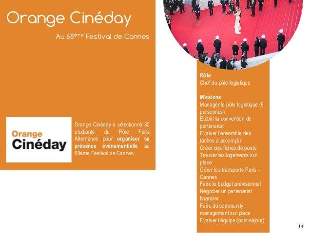 Orange Cinéday Au 68ème Festival de Cannes Orange Cinéday a sélectionné 30 étudiants du Pôle Paris Alternance pour organis...