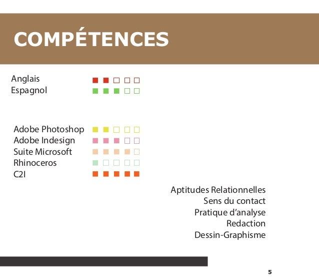 5  COMPÉTENCES  Anglais  Espagnol  Adobe Photoshop  Adobe Indesign  Suite Microsoft  Rhinoceros  C2I  Aptitudes Relationne...