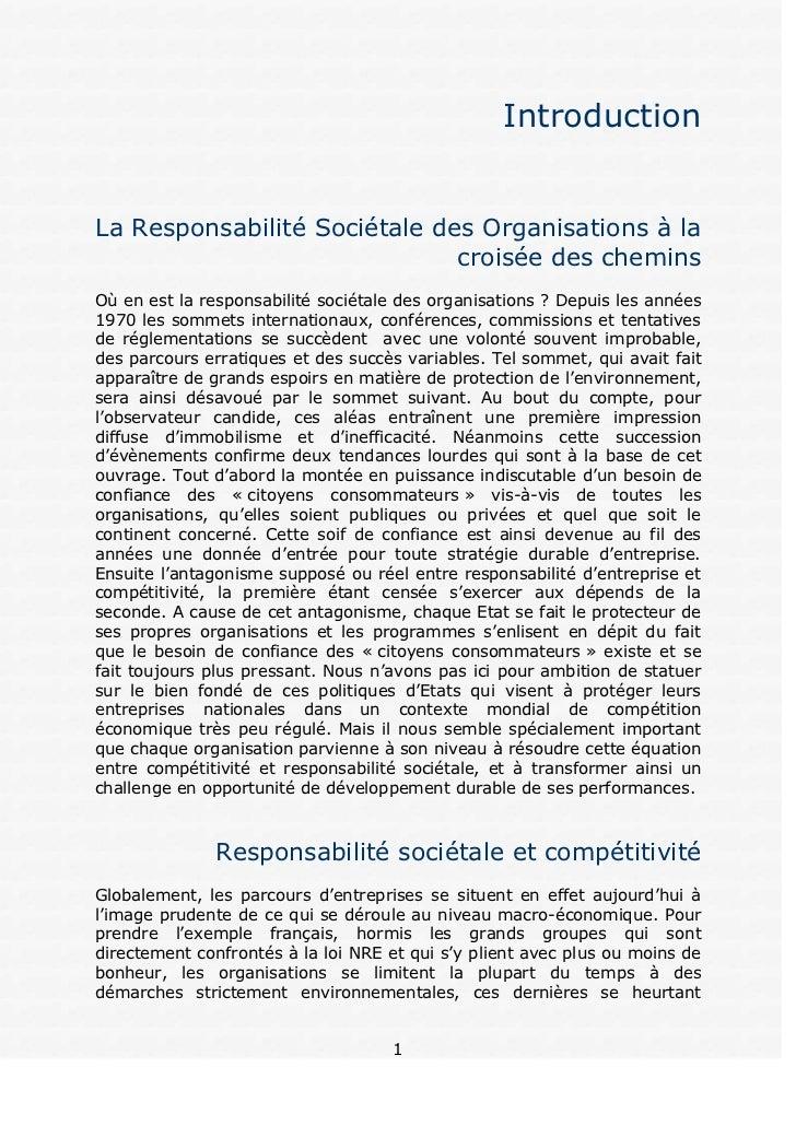 IntroductionLa Responsabilité Sociétale des Organisations à la                              croisée des cheminsOù en est l...