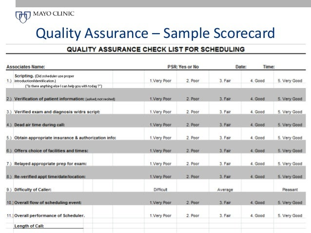 Call center quality assurance scorecard for Quality scorecard template
