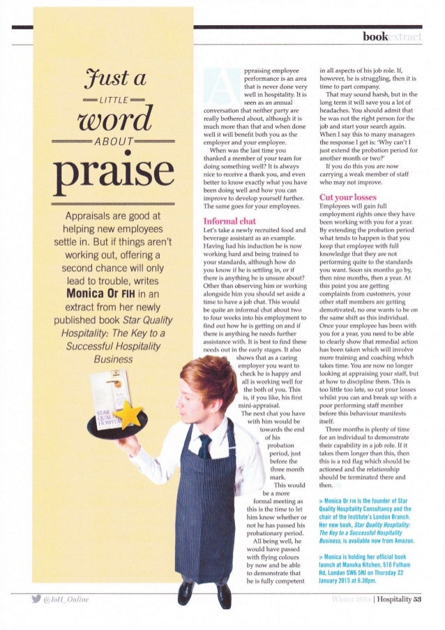 East a  = L/TTLE=   word  praise  Appraisals are good at helping new employees  settle in.  But if things aren't  working ...