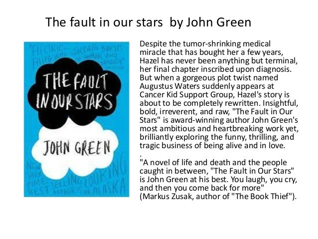 book review fault in our stars Find out how many tissues you'll need to get through john green's stellar young adult novel, the fault in our stars.