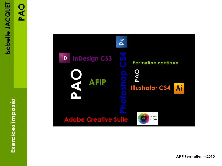 PAO Isabelle JACQUET Exercices imposés AFIP Formation – 2010   InDesign CS3 Photoshop CS4 Illustrator CS4 InDesign CS3 AFI...
