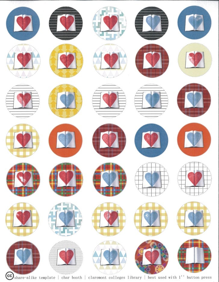 Book Heart Button Template: With Hearts