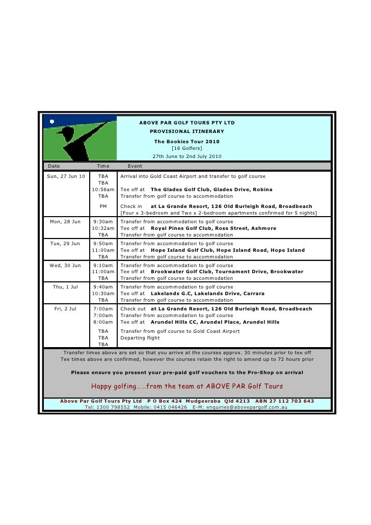 ABOVE PAR GOLF TOURS PTY LTD                                          PROVISIONAL ITINERARY                               ...