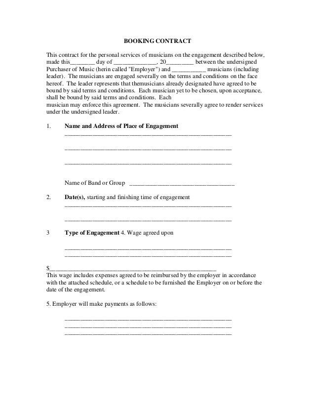 Booking contract for Musicians contract template