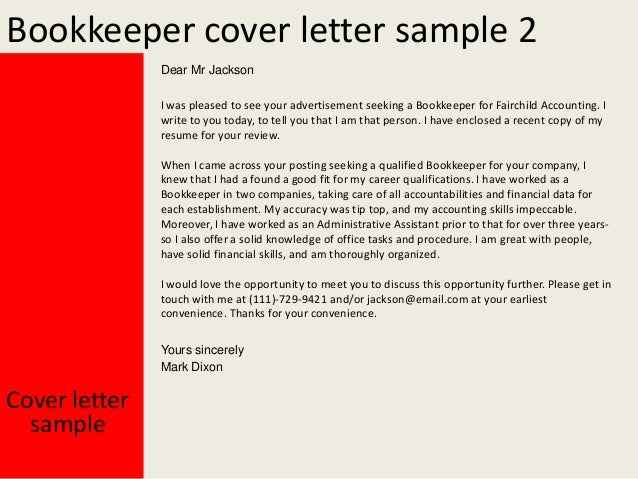 bookkeeper cover letter