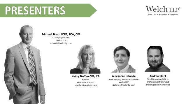 Micheal Burch FCPA, FCA, CFP Managing Partner Welch LLP mburch@welchllp.com Alexandre Lalonde Bookkeeping Team Coordinator...