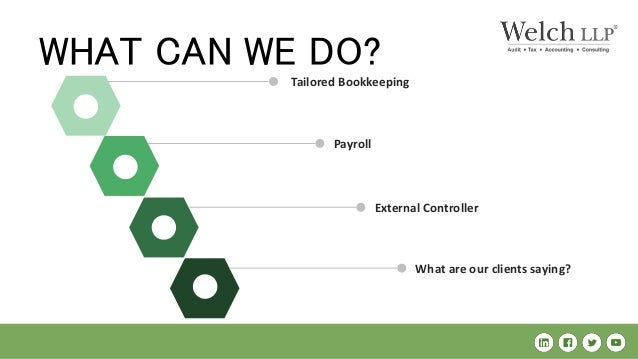 Payroll Tailored Bookkeeping WHAT CAN WE DO? External Controller What are our clients saying?