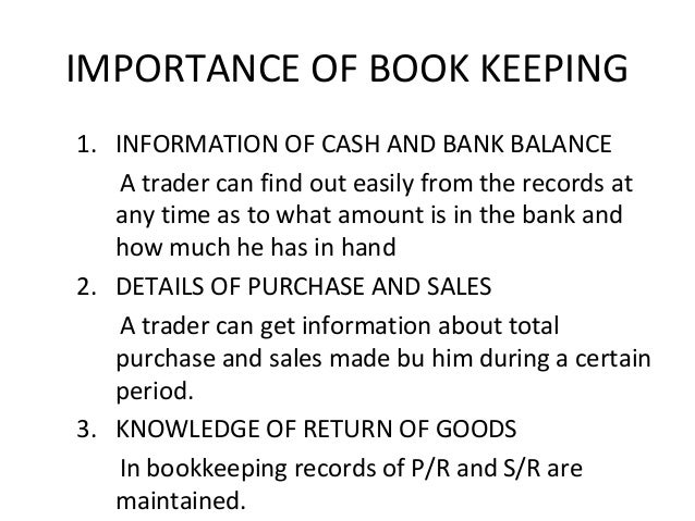 importance of bookkeeping and accounting