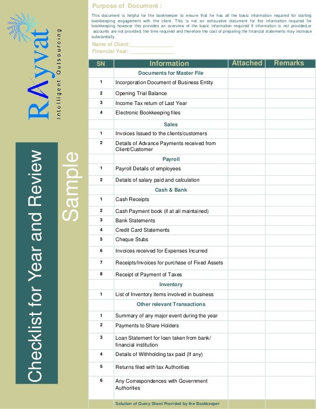 Bookkeeping Checklist Sample. Purpose Of Document : This Document Is  Helpful For The Bookkeeper To Ensure That He Has  Checklist Sample Template