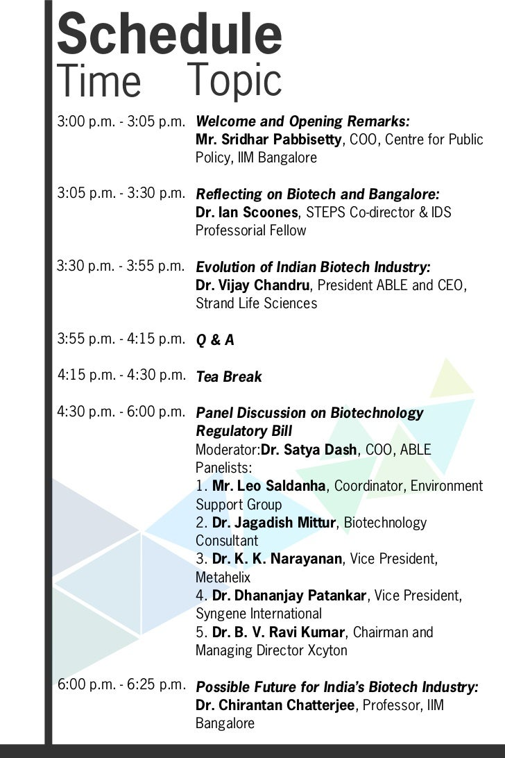 ScheduleTime                Topic3:00 p.m. - 3:05 p.m. Welcome and Opening Remarks:                      Mr. Sridhar Pabbi...