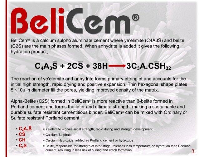 Calcium Aluminate Cement Applications : Belicem high belite csa cement hr