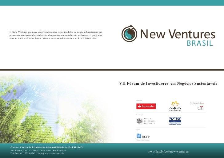 VII Fórum de Investidores em Negócios Sustentáveis        Parceiros        Realização                     WORLD           ...