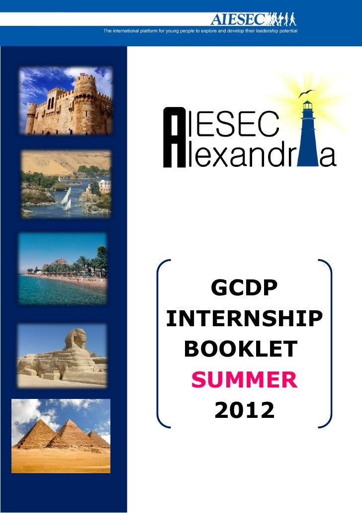 GCDPINTERNSHIP BOOKLET  SUMMER   2012