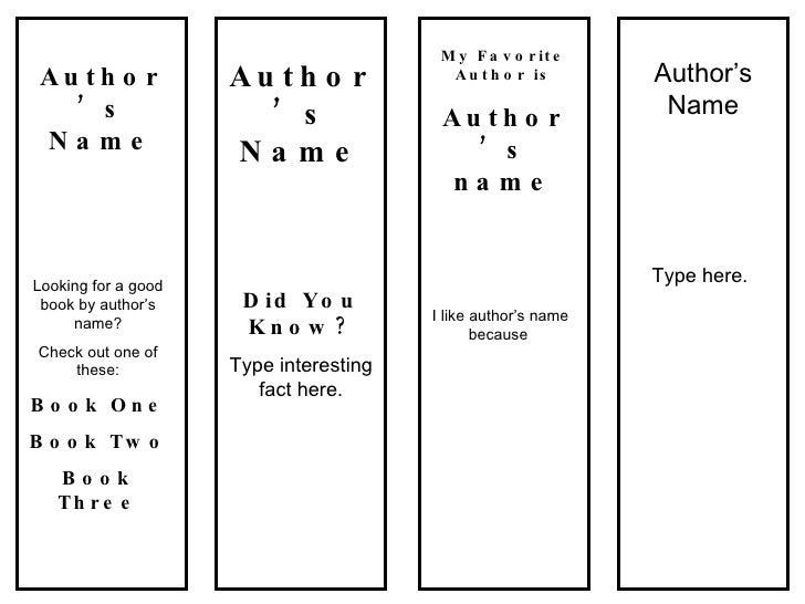bookmarks favorite author template. Black Bedroom Furniture Sets. Home Design Ideas