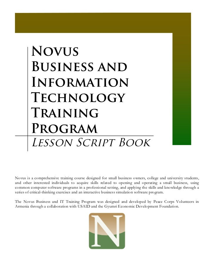 Novus         Business and         Information         Technology         Training         Program         Lesson Script B...