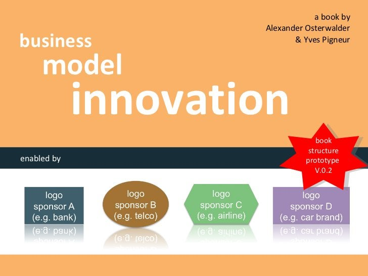 business model innovation enabled by a book by  Alexander Osterwalder  & Yves Pigneur  book structure prototype  V.0.2