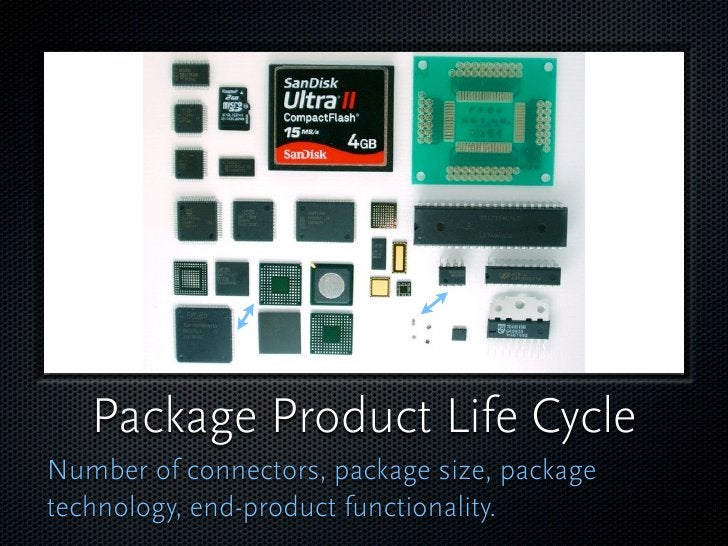 Package Product Life Cycle Number of connectors, package size, package technology, end-product functionality.
