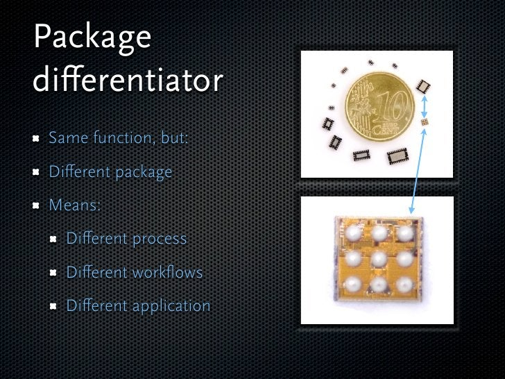 Package differentiator  Same function, but:  Different package  Means:    Different process    Different workflows    Different ...